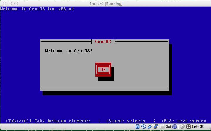 หน้าต้อนรับของตัวติดตั้ง CentOS